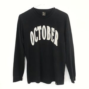 OVO Drake Long Sleeve October Black T Shirt Small